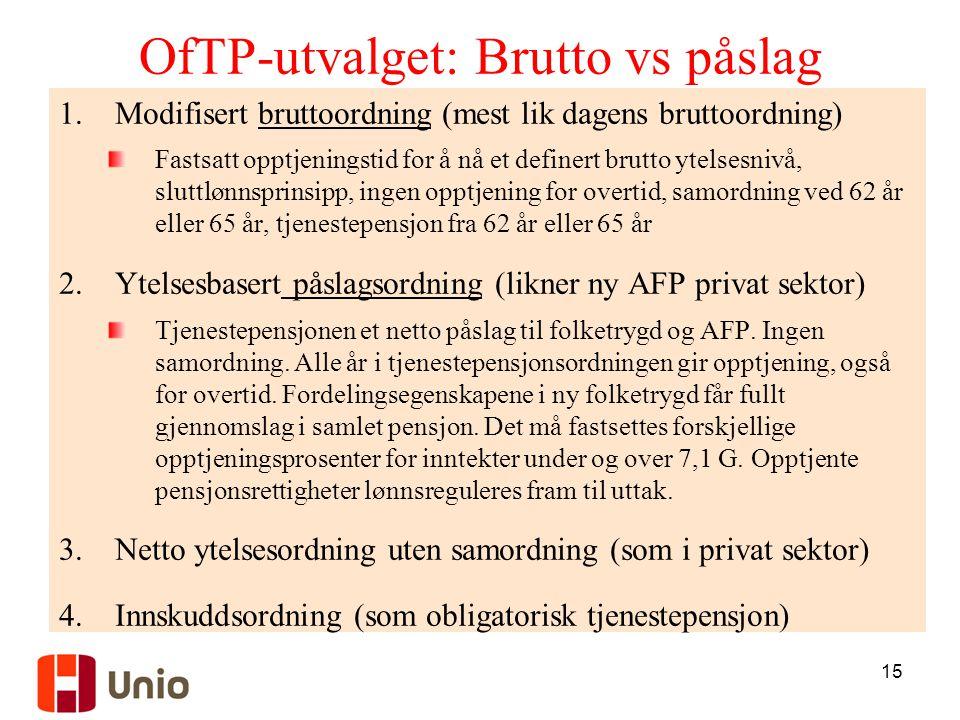 OfTP-utvalget: Brutto vs påslag