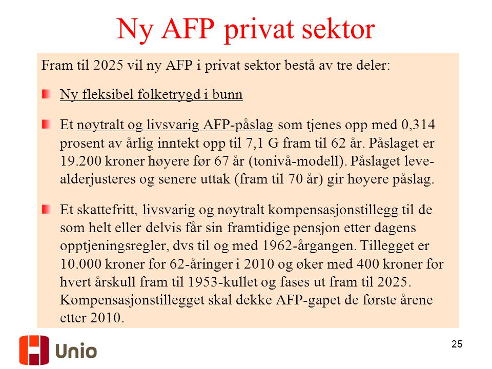 Ny AFP privat sektor Fram til 2025 vil ny AFP i privat sektor bestå av tre deler: Ny fleksibel folketrygd i bunn.