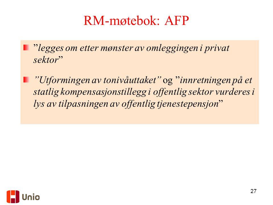 RM-møtebok: AFP legges om etter mønster av omleggingen i privat sektor