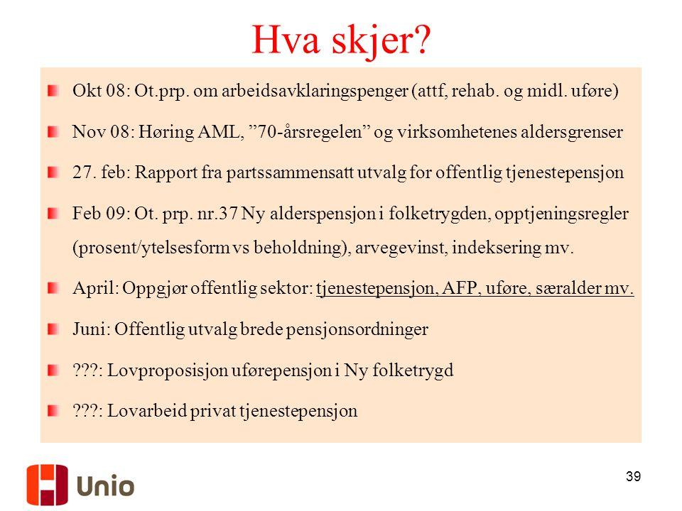 Hva skjer Okt 08: Ot.prp. om arbeidsavklaringspenger (attf, rehab. og midl. uføre)