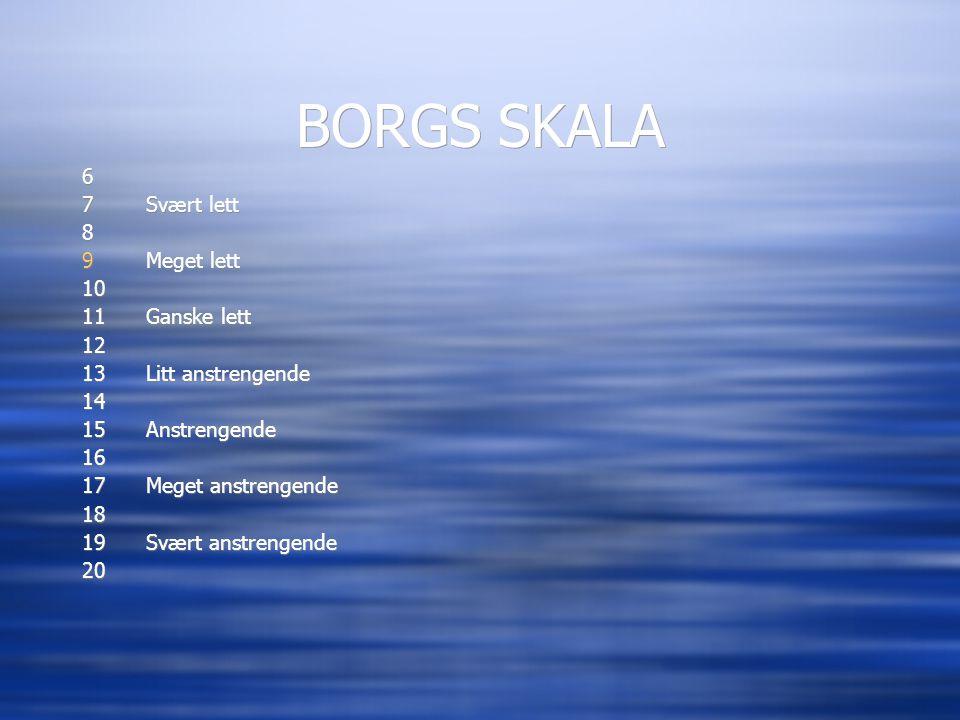 BORGS SKALA 6 7 Svært lett 8 Meget lett 10 11 Ganske lett 12