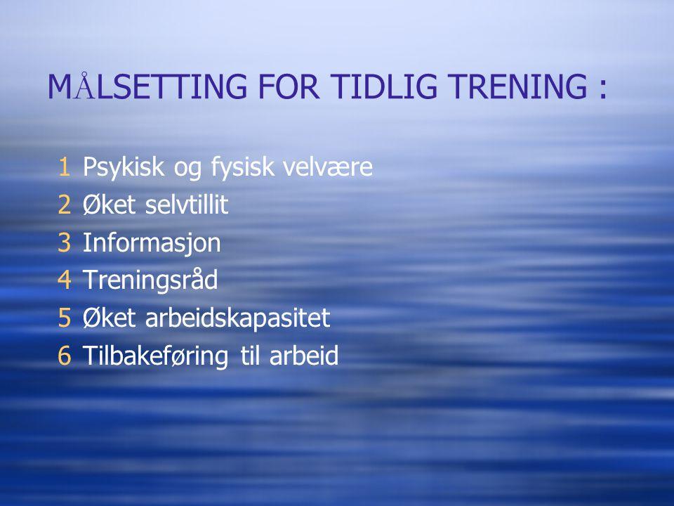 MÅLSETTING FOR TIDLIG TRENING :
