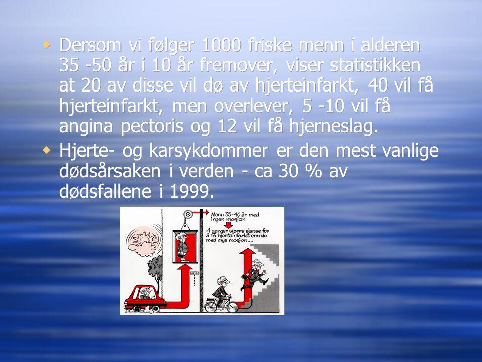 Dersom vi følger 1000 friske menn i alderen 35 -50 år i 10 år fremover, viser statistikken at 20 av disse vil dø av hjerteinfarkt, 40 vil få hjerteinfarkt, men overlever, 5 -10 vil få angina pectoris og 12 vil få hjerneslag.