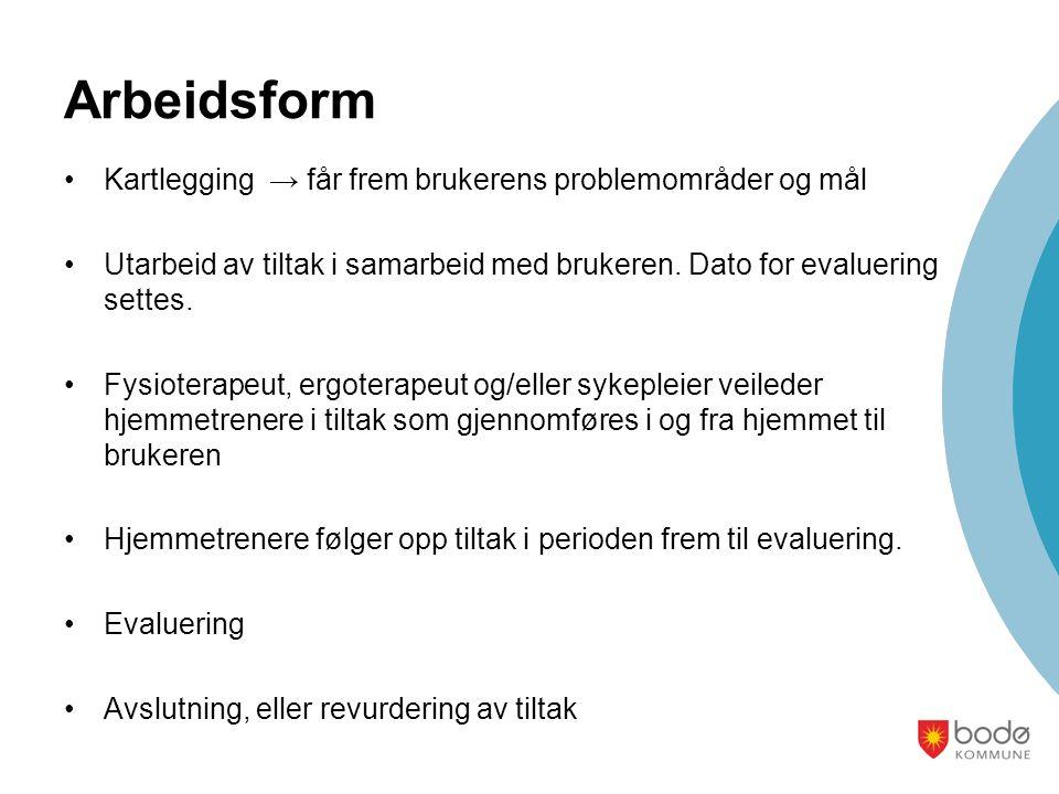 Arbeidsform Kartlegging → får frem brukerens problemområder og mål