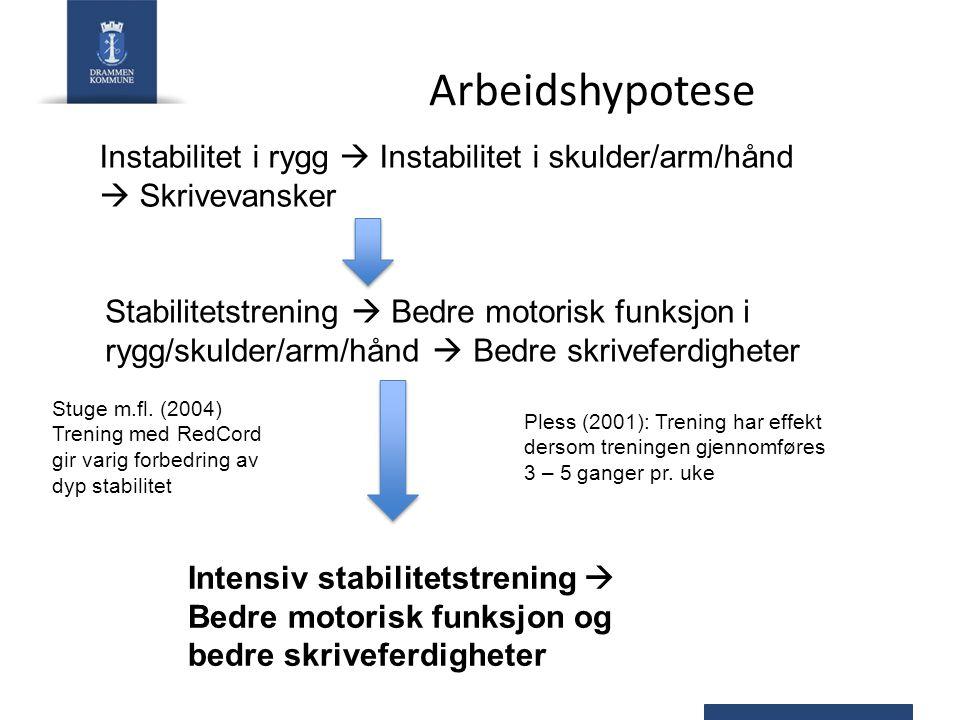 Arbeidshypotese Instabilitet i rygg  Instabilitet i skulder/arm/hånd