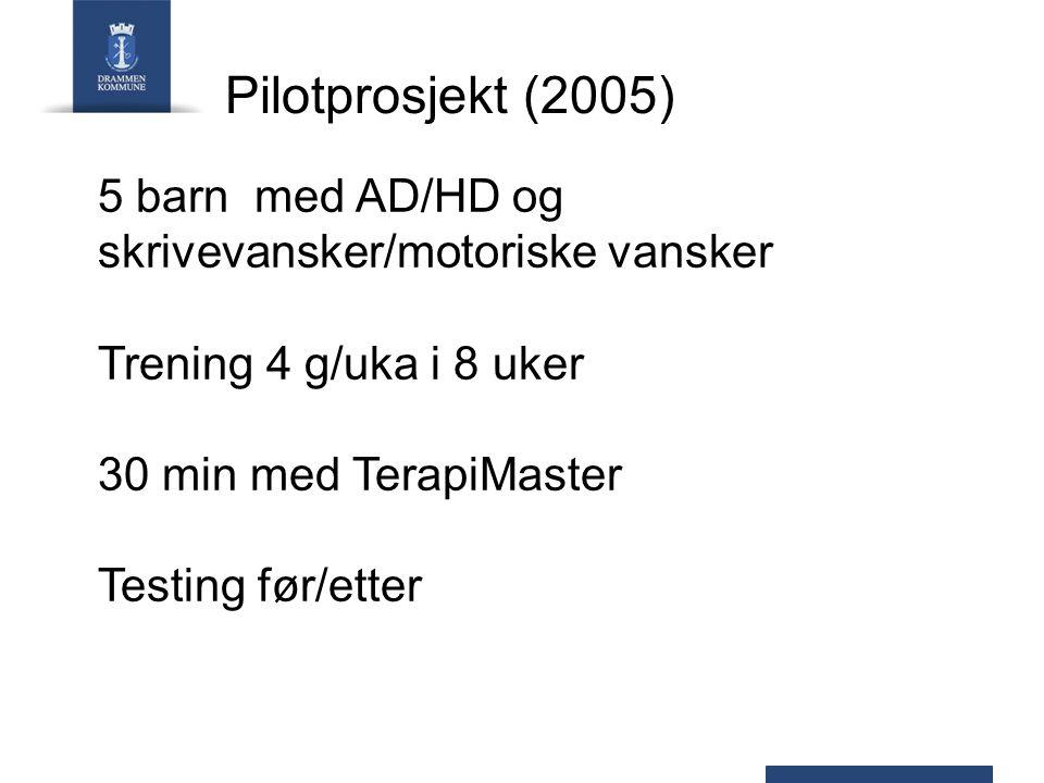 Pilotprosjekt (2005) 5 barn med AD/HD og. skrivevansker/motoriske vansker. Trening 4 g/uka i 8 uker.