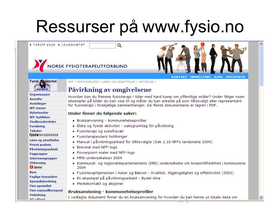 Ressurser på www.fysio.no