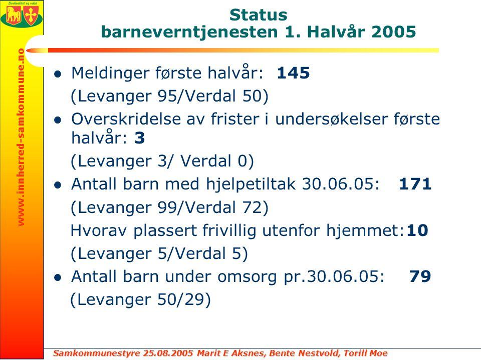 Status barneverntjenesten 1. Halvår 2005