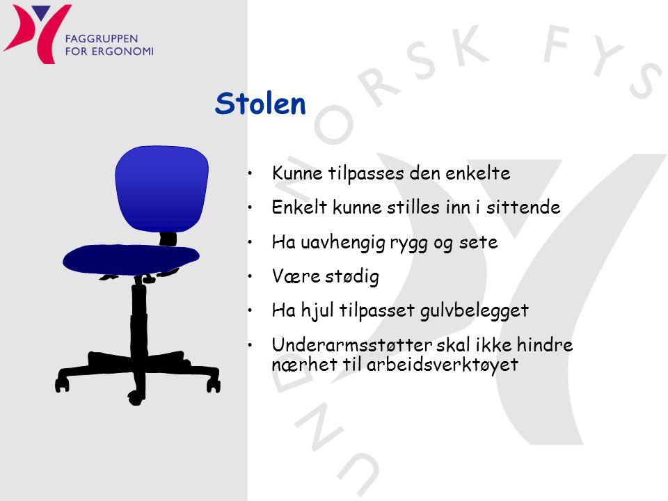 Stolen Kunne tilpasses den enkelte Enkelt kunne stilles inn i sittende