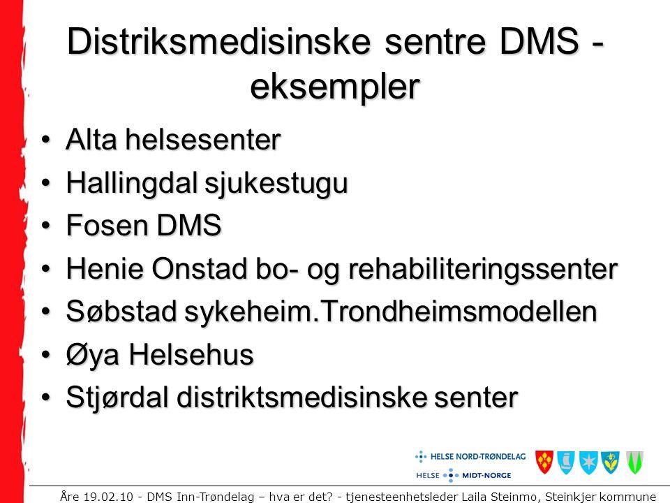 Distriksmedisinske sentre DMS -eksempler