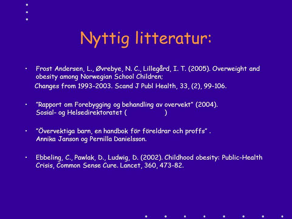 Nyttig litteratur: Frost Andersen, L., Øvrebye, N. C., Lillegård, I. T. (2005). Overweight and obesity among Norwegian School Children;