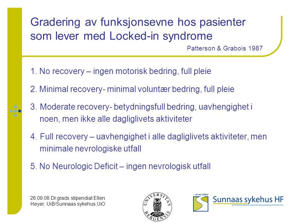 Gradering av funksjonsevne hos pasienter som lever med Locked-in syndrome Patterson & Grabois 1987