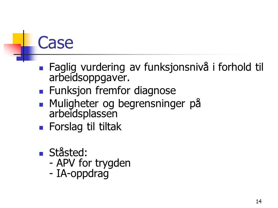 Case Faglig vurdering av funksjonsnivå i forhold til arbeidsoppgaver.