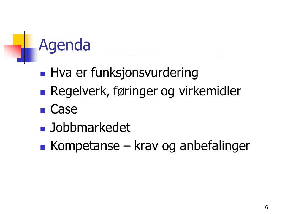 Agenda Hva er funksjonsvurdering Regelverk, føringer og virkemidler