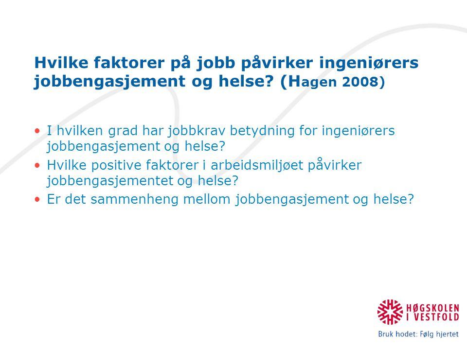 Hvilke faktorer på jobb påvirker ingeniørers jobbengasjement og helse