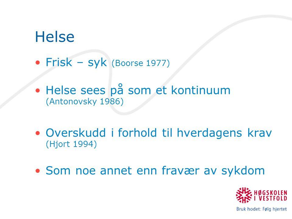 Helse Frisk – syk (Boorse 1977)