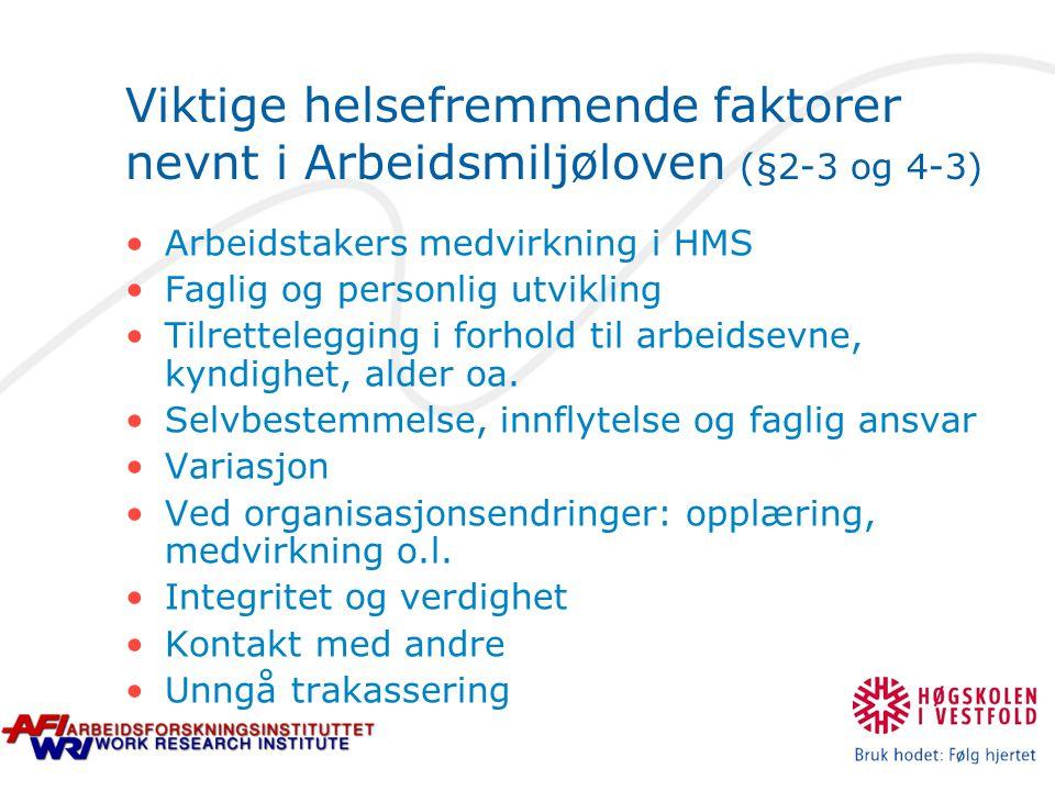 Viktige helsefremmende faktorer nevnt i Arbeidsmiljøloven (§2-3 og 4-3)