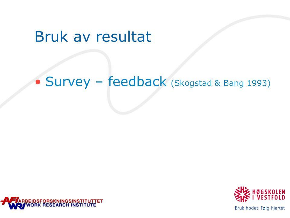Bruk av resultat Survey – feedback (Skogstad & Bang 1993)