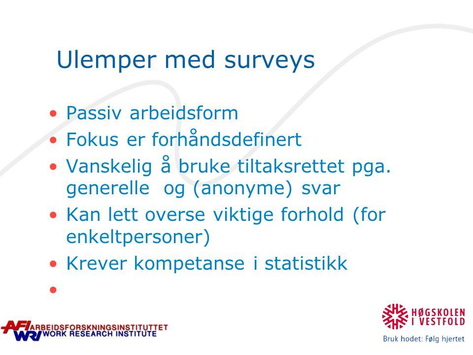 Ulemper med surveys Passiv arbeidsform Fokus er forhåndsdefinert