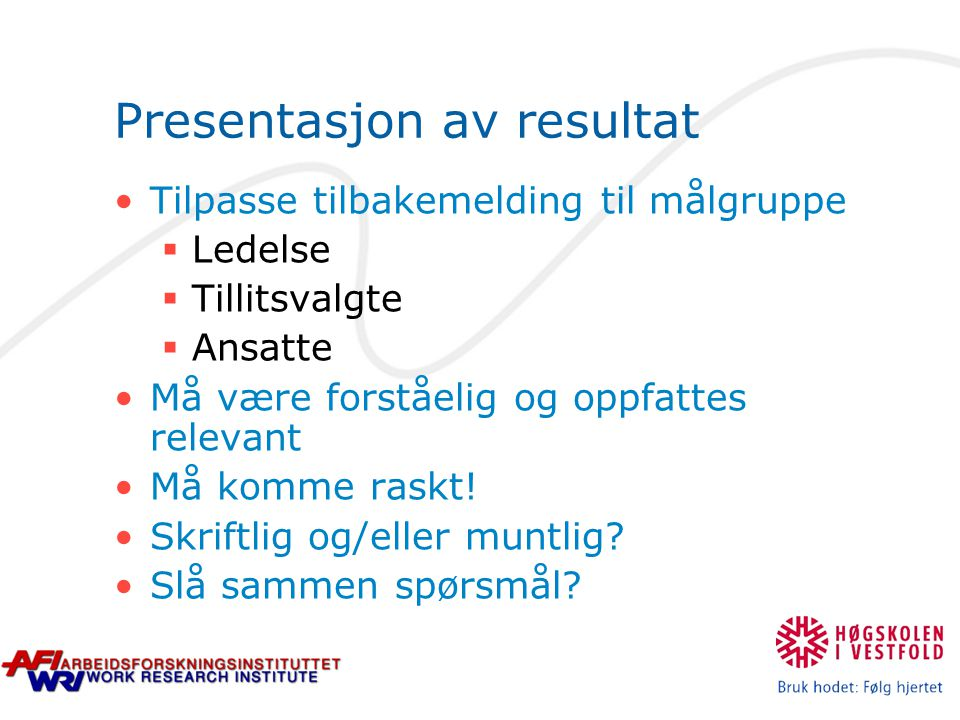 Presentasjon av resultat