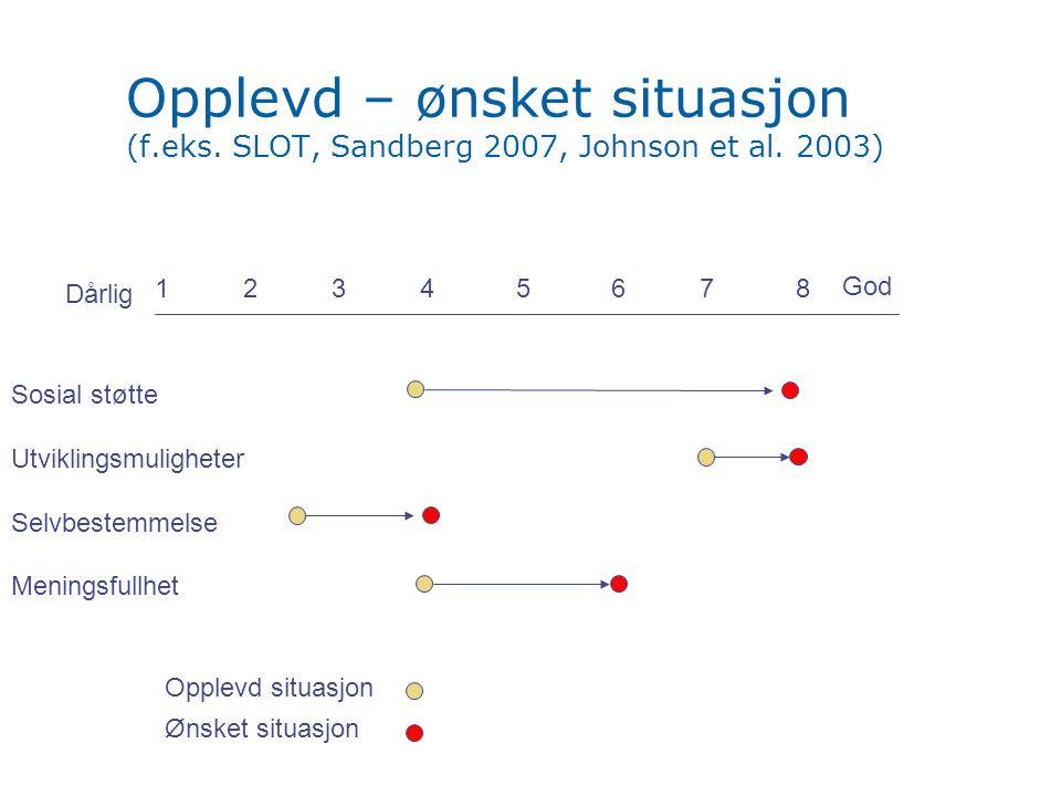 Opplevd – ønsket situasjon (f. eks. SLOT, Sandberg 2007, Johnson et al