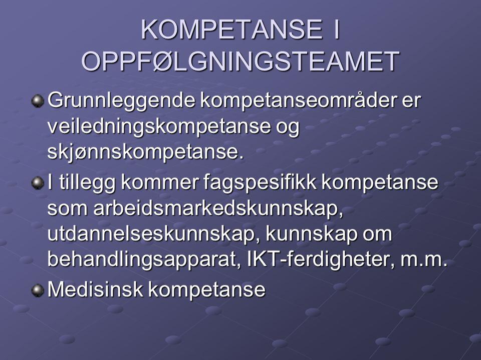 KOMPETANSE I OPPFØLGNINGSTEAMET