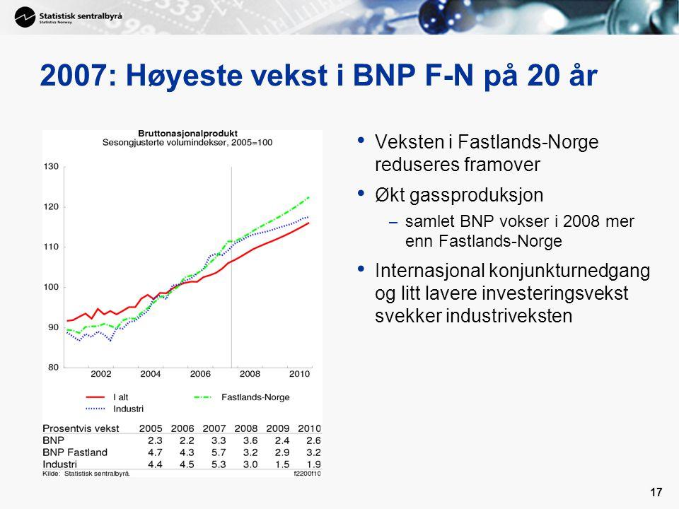 2007: Høyeste vekst i BNP F-N på 20 år