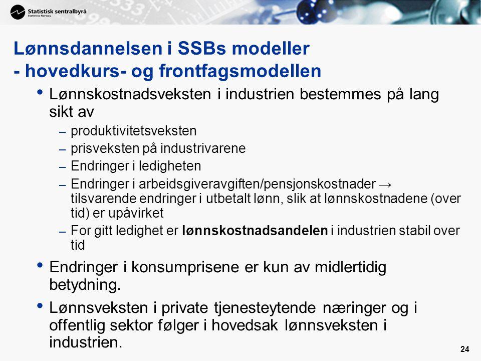 Lønnsdannelsen i SSBs modeller - hovedkurs- og frontfagsmodellen