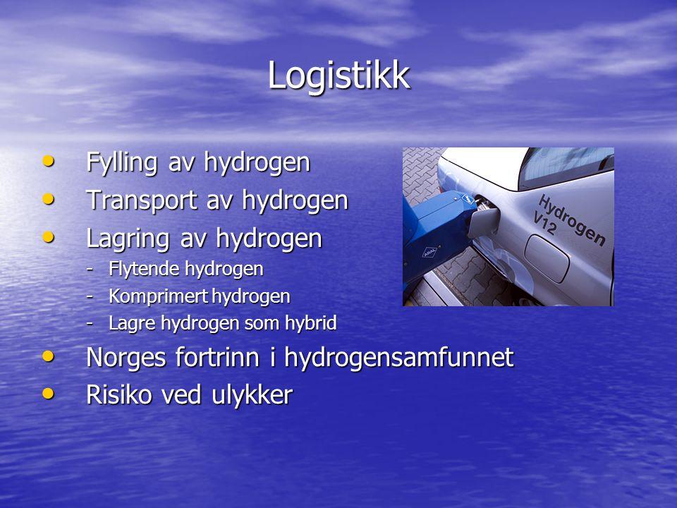 Logistikk Fylling av hydrogen Transport av hydrogen