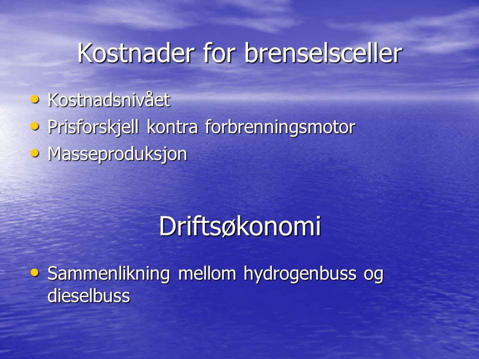 Kostnader for brenselsceller