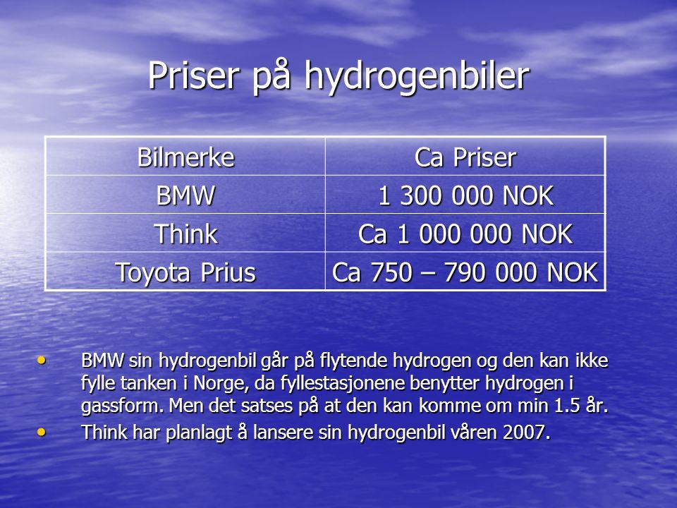 Priser på hydrogenbiler