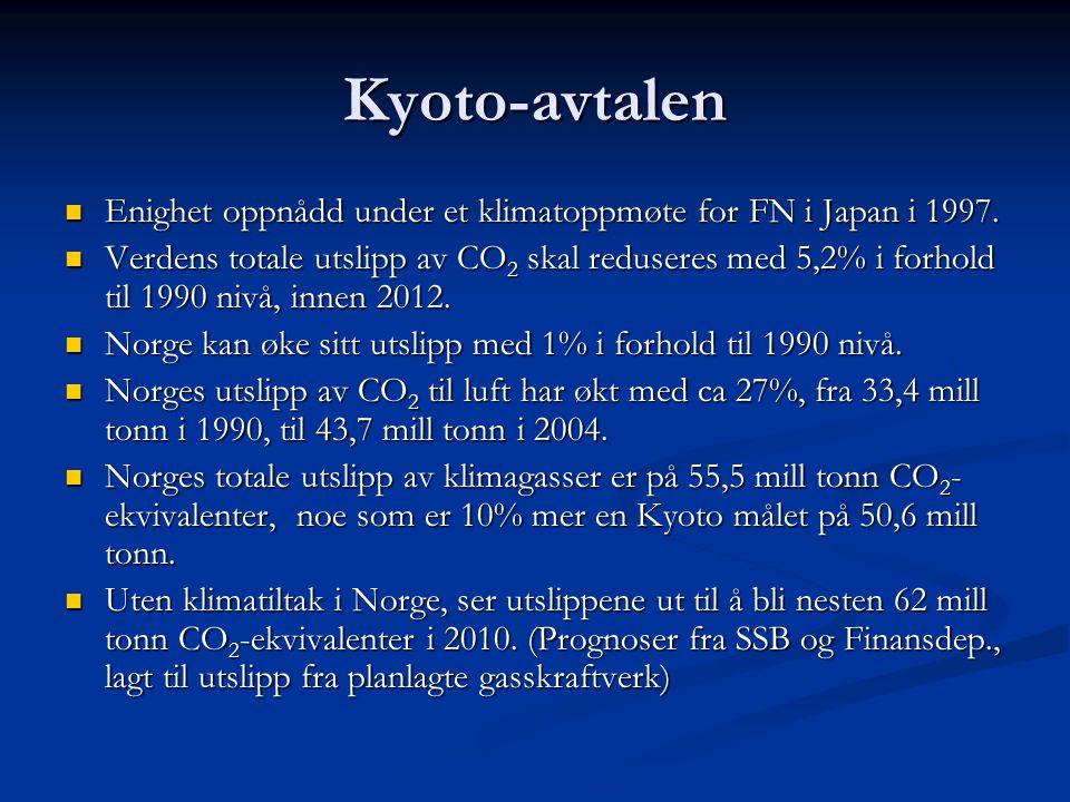 Kyoto-avtalen Enighet oppnådd under et klimatoppmøte for FN i Japan i 1997.