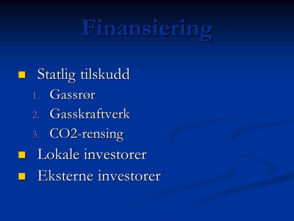 Finansiering Statlig tilskudd Lokale investorer Eksterne investorer