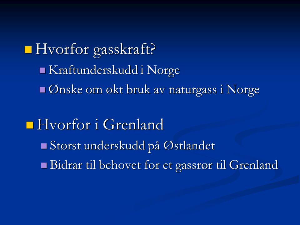 Hvorfor gasskraft Hvorfor i Grenland Kraftunderskudd i Norge