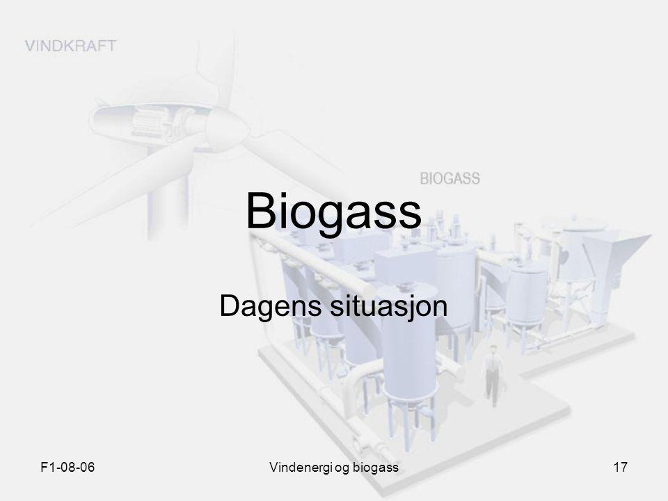 Biogass Dagens situasjon F1-08-06 Vindenergi og biogass