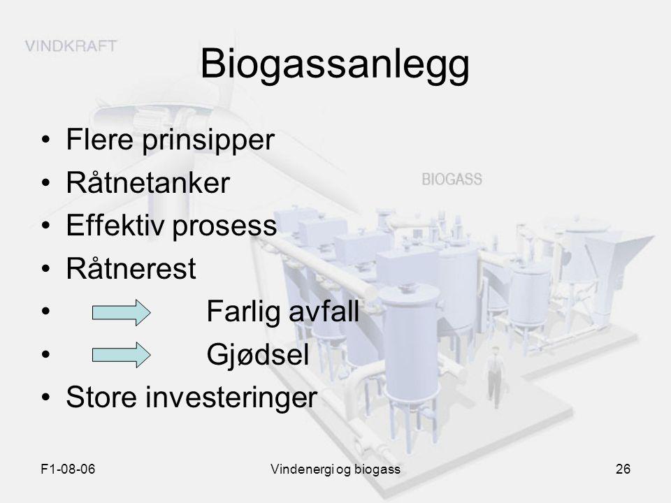 Biogassanlegg Flere prinsipper Råtnetanker Effektiv prosess Råtnerest