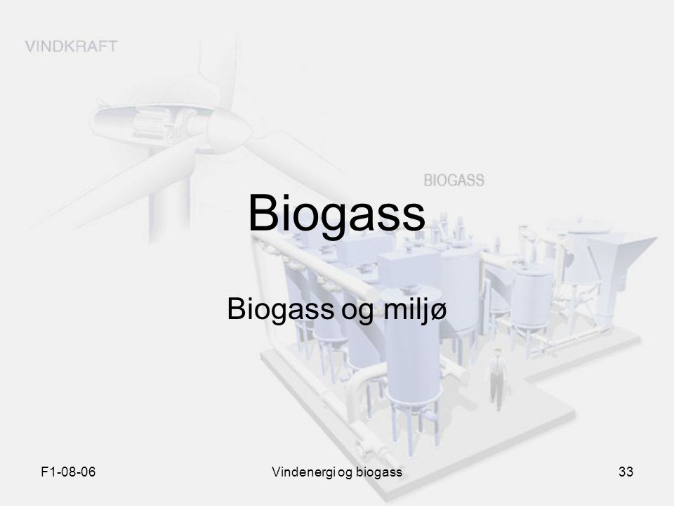 Biogass Biogass og miljø F1-08-06 Vindenergi og biogass