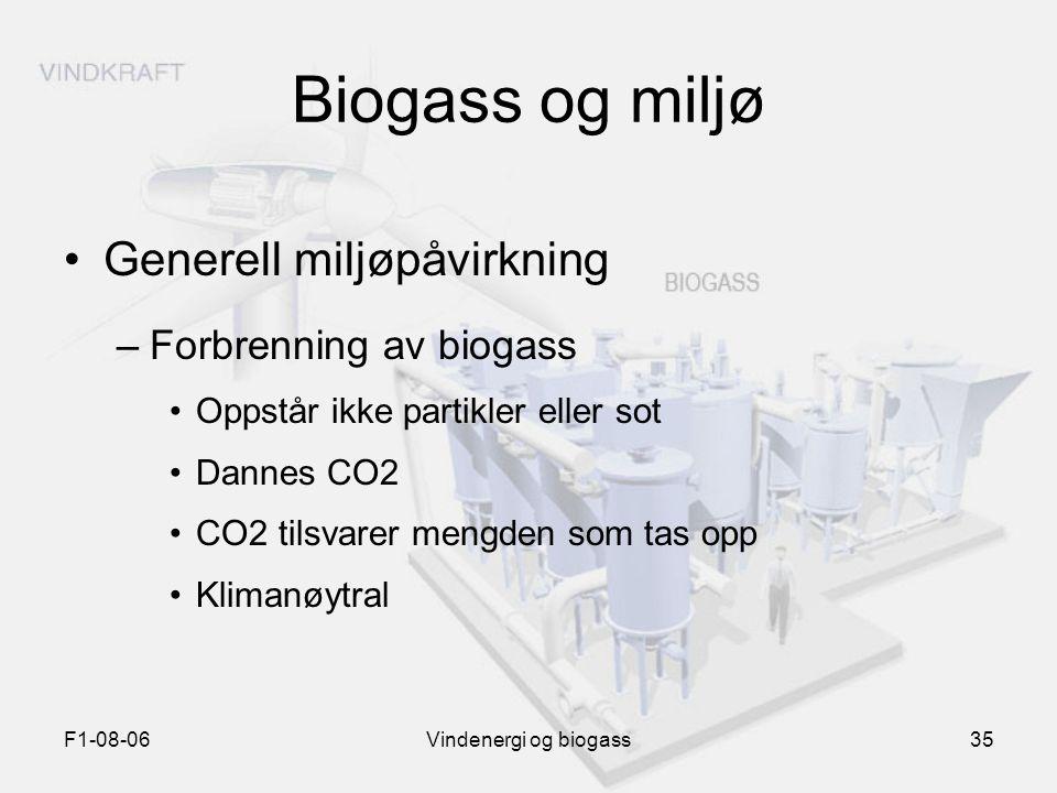 Biogass og miljø Generell miljøpåvirkning Forbrenning av biogass