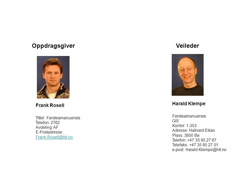 Oppdragsgiver Veileder Harald Klempe Frank Rosell
