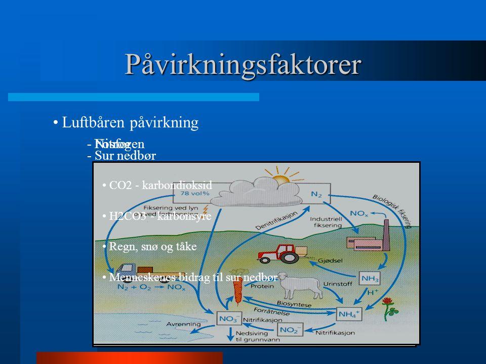 Påvirkningsfaktorer Luftbåren påvirkning - Nitrogen - Fosfor