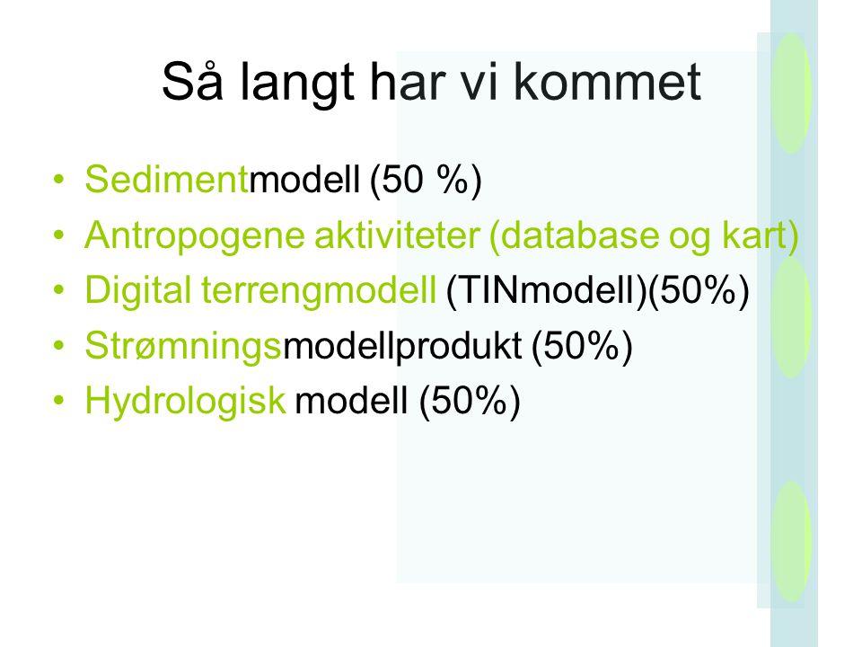 Så langt har vi kommet Sedimentmodell (50 %)