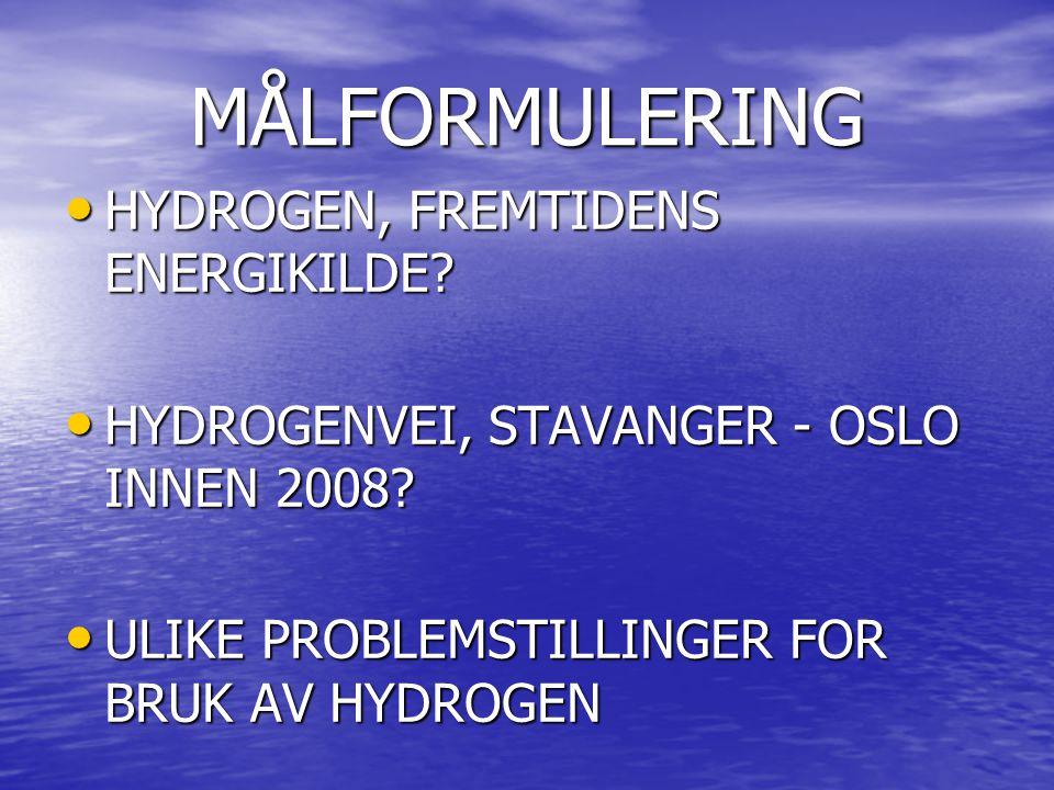 MÅLFORMULERING HYDROGEN, FREMTIDENS ENERGIKILDE