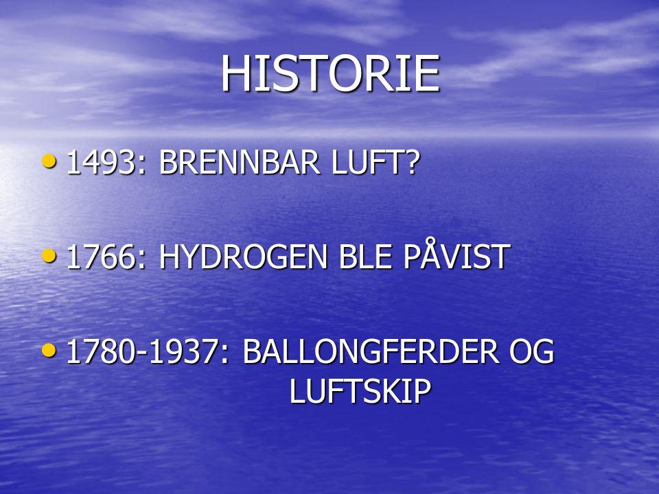 HISTORIE 1493: BRENNBAR LUFT 1766: HYDROGEN BLE PÅVIST