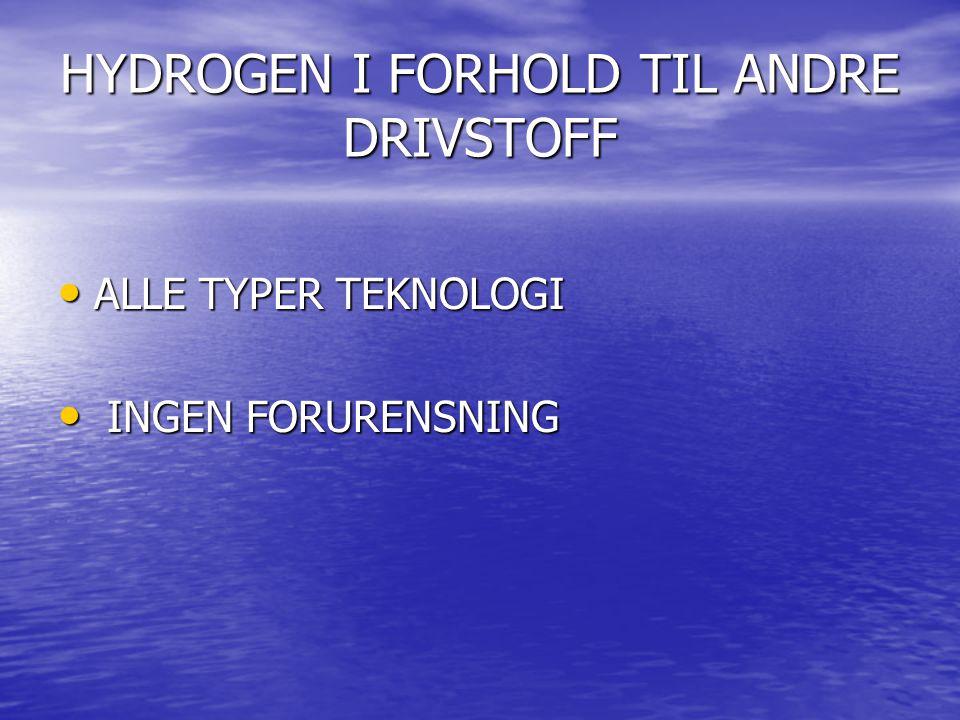 HYDROGEN I FORHOLD TIL ANDRE DRIVSTOFF