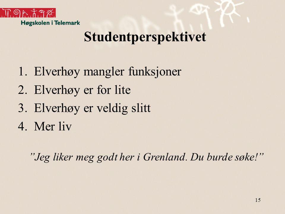 Studentperspektivet Elverhøy mangler funksjoner Elverhøy er for lite