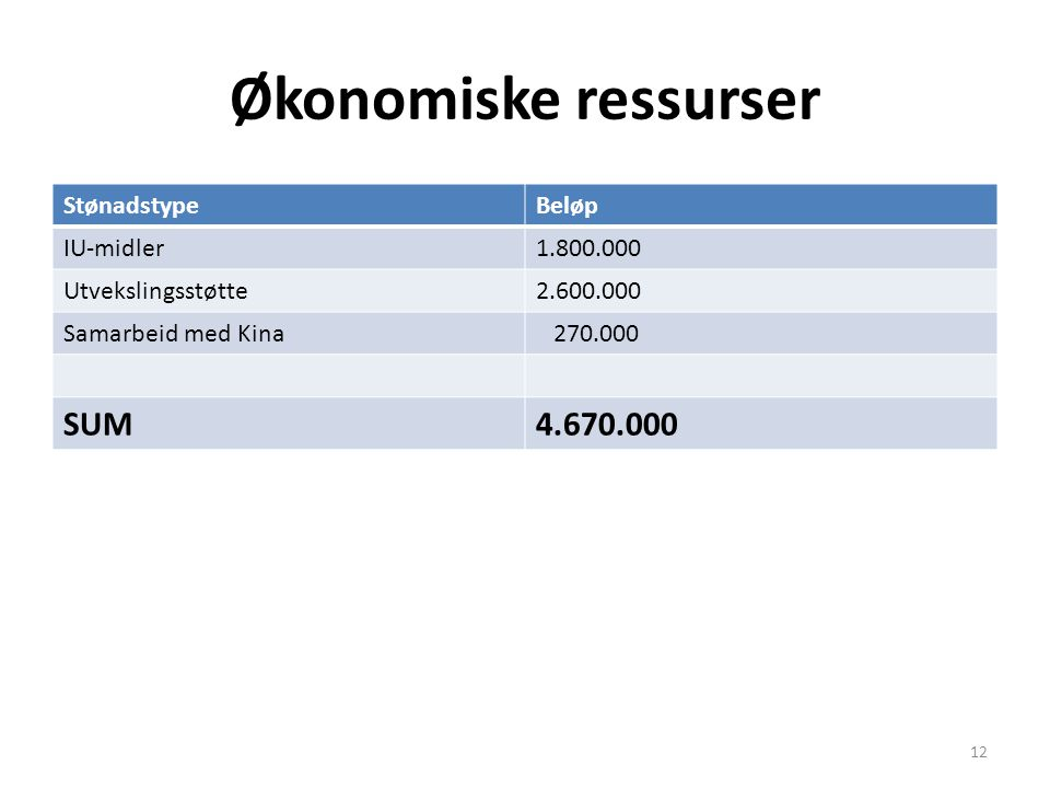 Økonomiske ressurser SUM 4.670.000 Stønadstype Beløp IU-midler