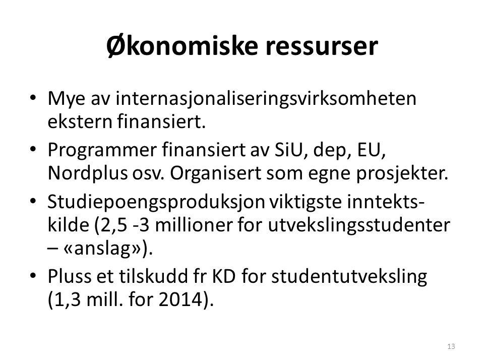 Økonomiske ressurser Mye av internasjonaliseringsvirksomheten ekstern finansiert.