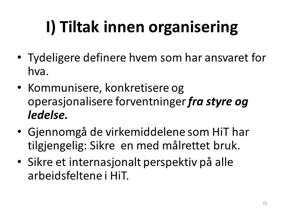 I) Tiltak innen organisering