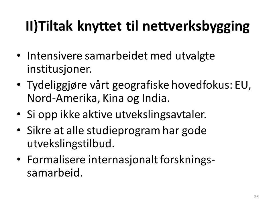 II)Tiltak knyttet til nettverksbygging