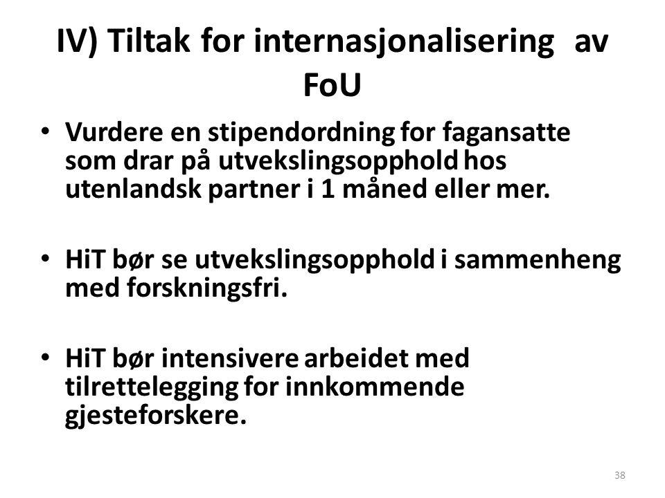 IV) Tiltak for internasjonalisering av FoU